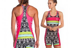 Coeur Sports Tropical Punch Tri Tank Top w/Shelf Bra