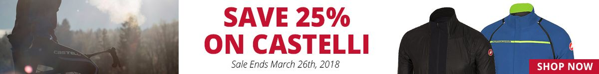 Save 25% on Castelli - Sale Ends March 26th, 2018