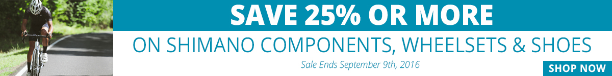 Save 25% on Shimano Components, Wheelsets & Shoes